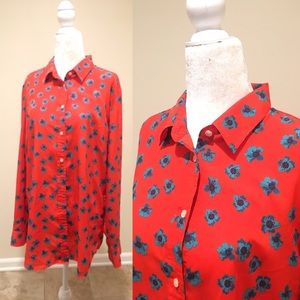 Banana Republic button down shirt blouse Flowers